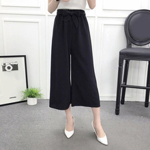 2019 Newly Hot Womens Wide Leg High Waist Casual Summer Thin Pants Loose Culottes Trousers MSK66