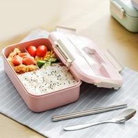 Estilo japonês de Plástico Palha de Trigo Boxs Almoço Bento Lancheira Portátil Crianças Estudante Da Escola Moderna Camping Piquenique Recipiente de Alimento
