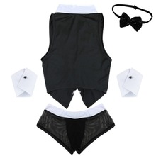 Men's Sexy Servant Vest, Panties, Bow Tie and Handcuffs Set