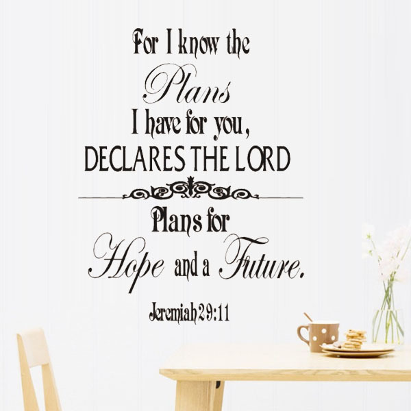 Jeremiah 29:11 Scripture Wall Art Words Wall Stickers Family decals ...