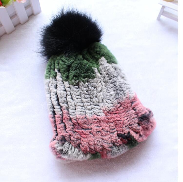 2018 new fashion natural knitted rex rabbit fur hat with pompom ball for kids child winter Russia fur warm fashion caps autumn winter baby hats new fashion children warm ball hat double color boys and girls cotton caps beanies baby knitted hat
