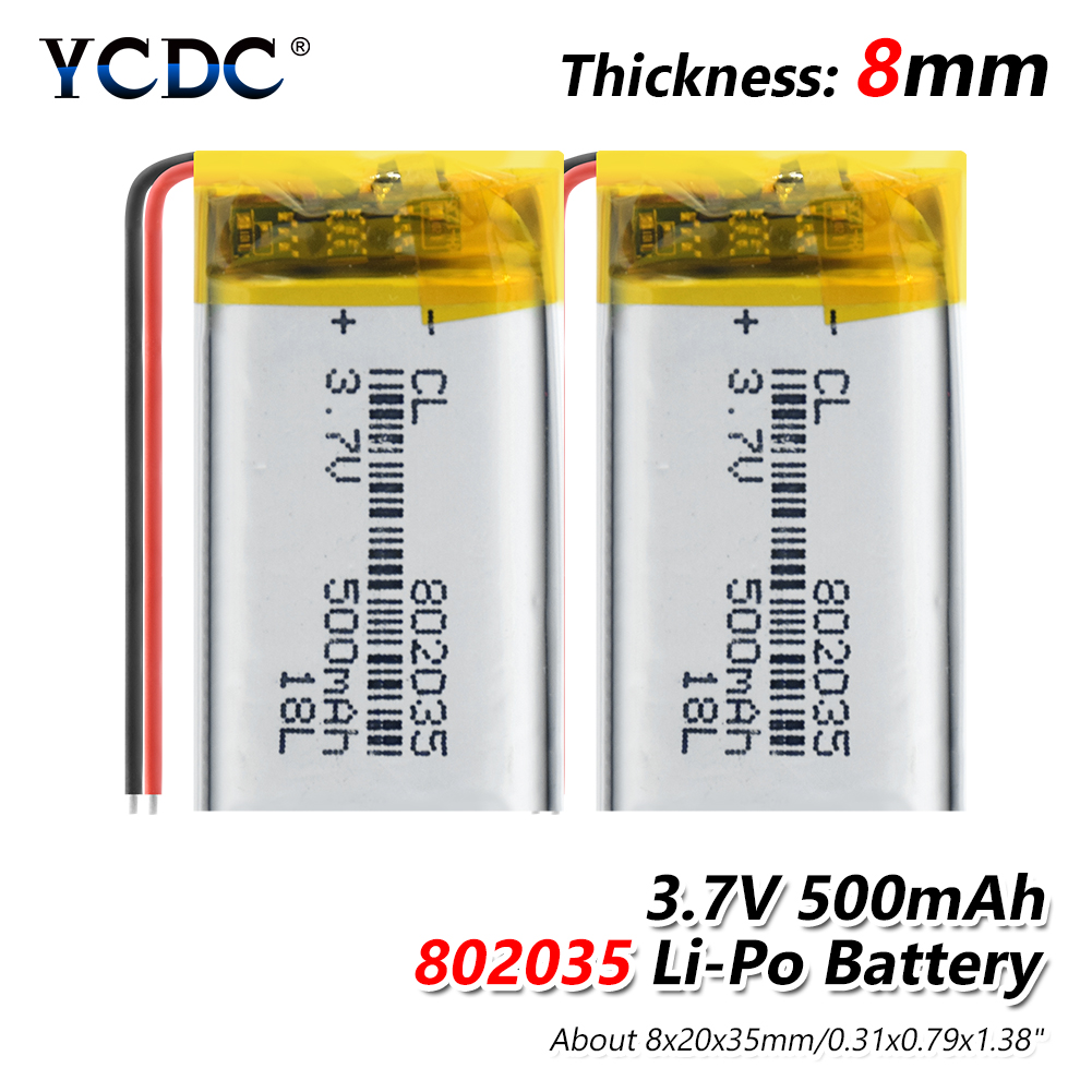 3.7V 500mAh 802035 Polymer Lithium Ion / Li-ion Battery For MP3 MP4 Toys DVR Mio Mivue 536 Mio 518 Video Recorder Mirror Dvr