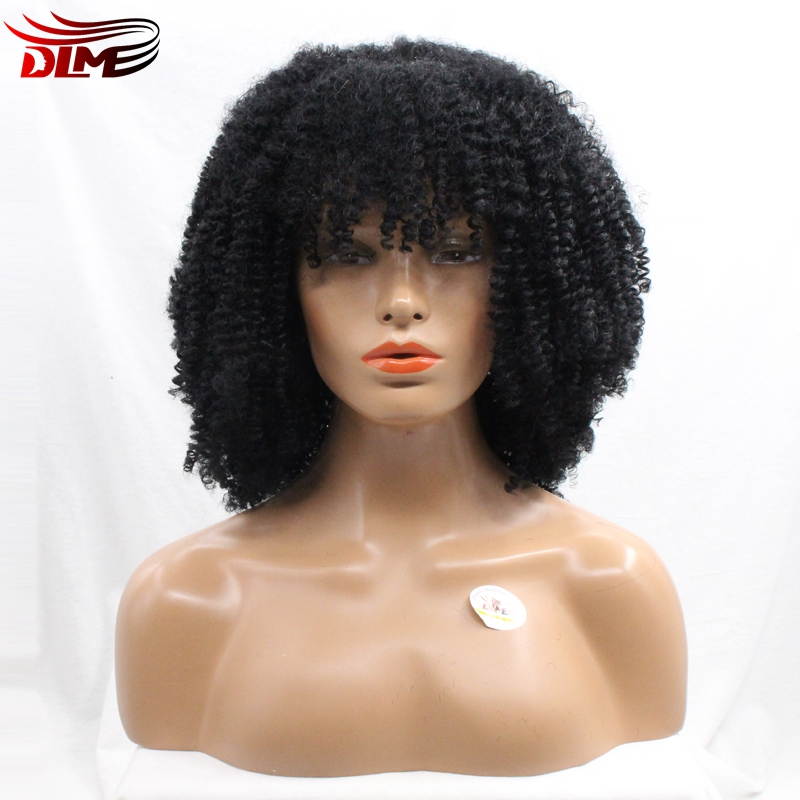 DLME Full Bangs Small Curl Bouncy Curly Afro Wigs Lace Front Black African American Women Natural Looking Hair