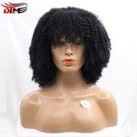 DLME Pełna Bangs Małe Skoczny Zwijają Afro Kręcone Peruki Koronki Przodu Czarny African American Kobiet Naturalny Wygląd Włosów
