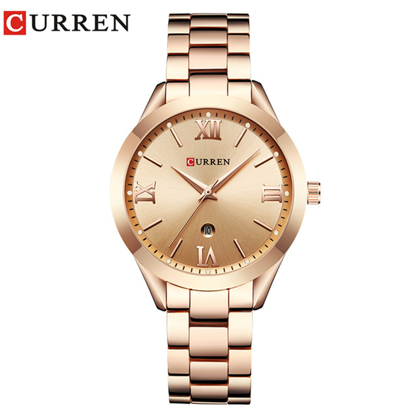 Bijoux Cadeaux Pour Les Femmes de Luxe Or Montre À Quartz En Acier Curren Marque Femmes Montres Dames De Mode Horloge relogio feminino 9007