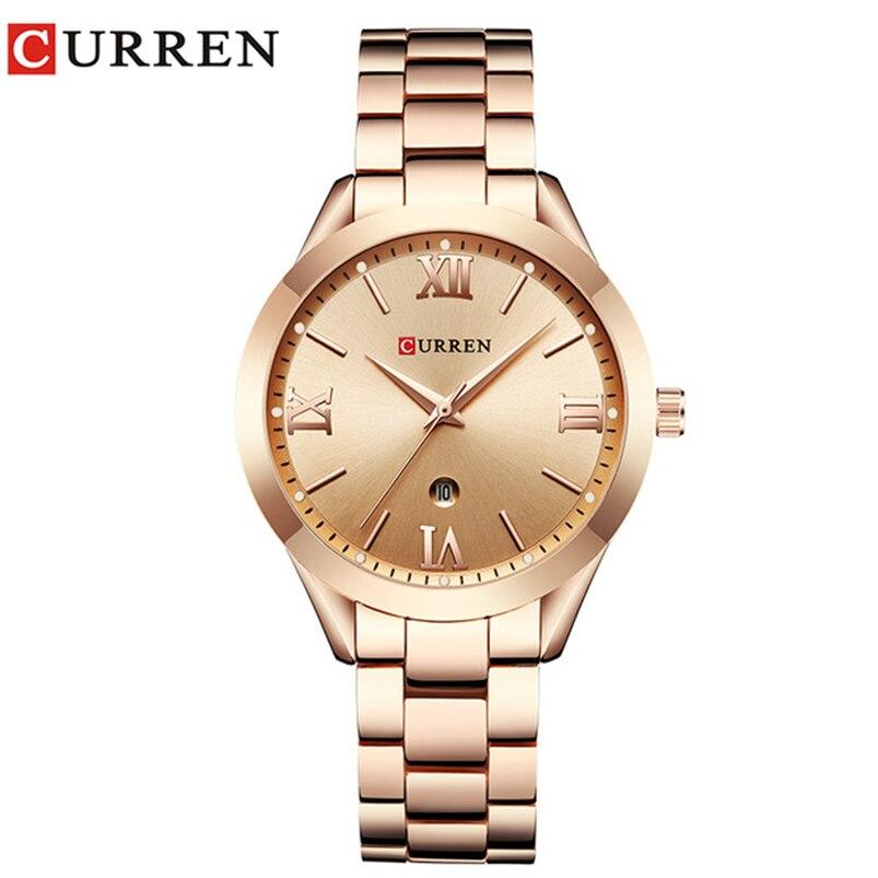 Joyería regalos para mujeres de lujo oro acero cuarzo reloj marca Curren mujeres relojes moda señoras reloj relogo femenino 9007