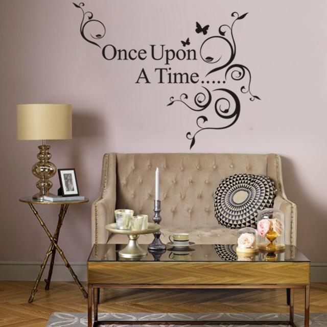 3d Saying Once Upon A Time Flowers Butterfly Wall Stickers Home