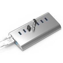 все цены на ALuminum Quick Charging USB 3.0 HUB 7Ports Splitter Adapter Super Speed with LED lamp for Apple Macbook Air Laptop PC Tablet онлайн
