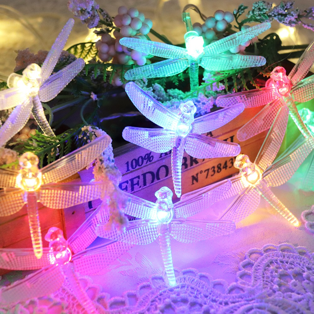4M 5M 20 LED String Light Dragonfly Novelty Christmas Decorative Lights For Holiday Xmas Party Fairy Garland EU Plug AC220V JQ