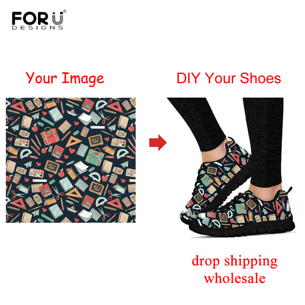 FORUDESIGNS Custom Logo Image Printing Sneakers Women Shoes Mesh Breathable For Woman Walking Shoe Flat Zapatos De Mujer Outdoor