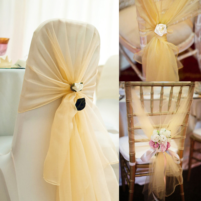 Diy Organza Chair Covers Batman Car 10pcs 26x108 Fabric Hoods Caps Wrap Tie Back Cover Sash For Wedding Event Party Banquet Decoration