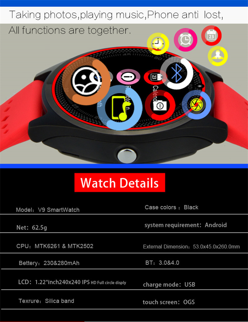 kilimall smart watch v9 dz09 with camera smartwatch pedometer
