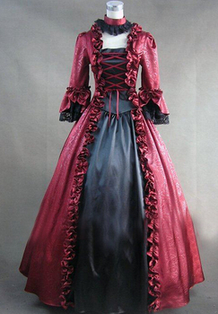 (LL329)Long Sleeves Gothic Victorian Lolita Prom Dress Ball Gown Cosplay Fancy Dress Halloween Party Costume 3 colors available
