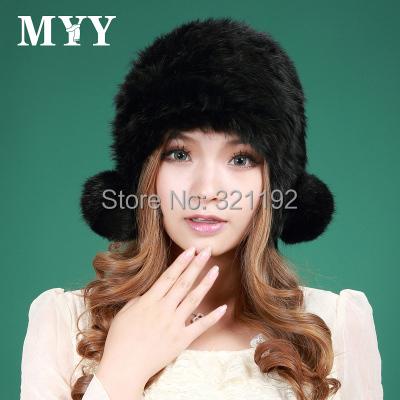 Otoño invierno las mujeres más tamaño Engrosamiento hembra sombrero de piel de conejo doble bola de protector auditivo térmica de invierno de punto gorros de piel