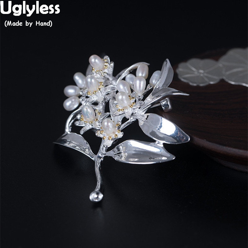 Uglyless 100% Real Solid 925 Sterling Silver Leaves Brooches for Women Natural MINI Pearls Flowers Pins Brooch Fine Jewelry