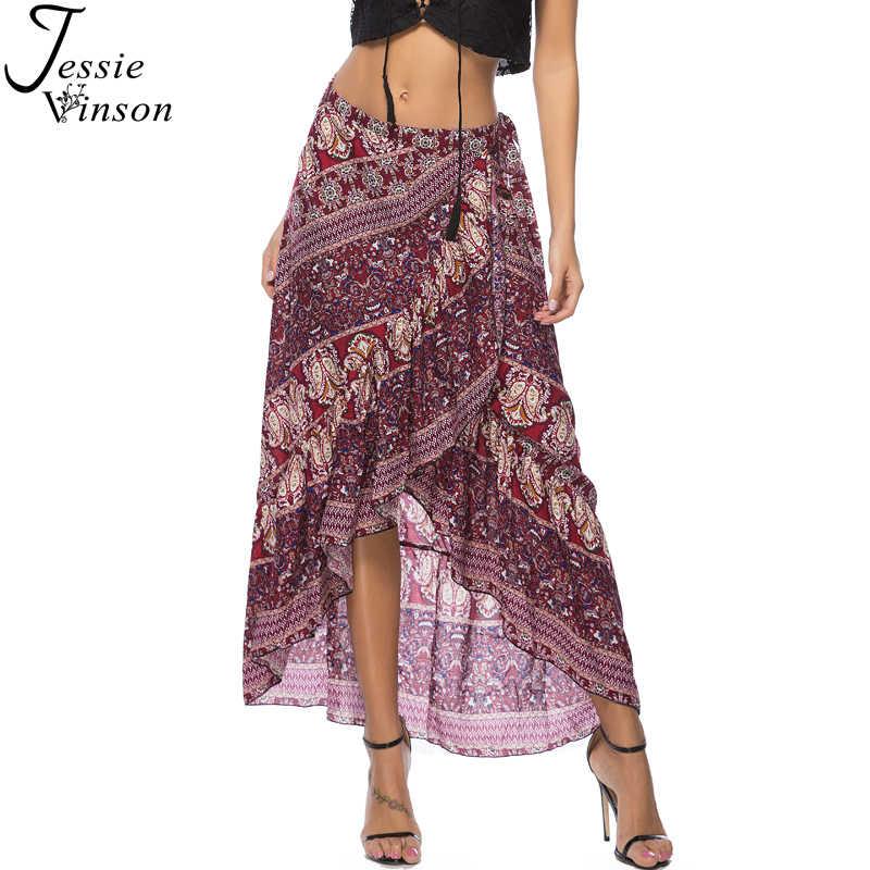 f26e21f6e2 Jessie Vinson Bohemian Print Asymmetrical Wrap Skirt Women Adjustable Waist  Maxi Boho Skirt Summer Beach Loose