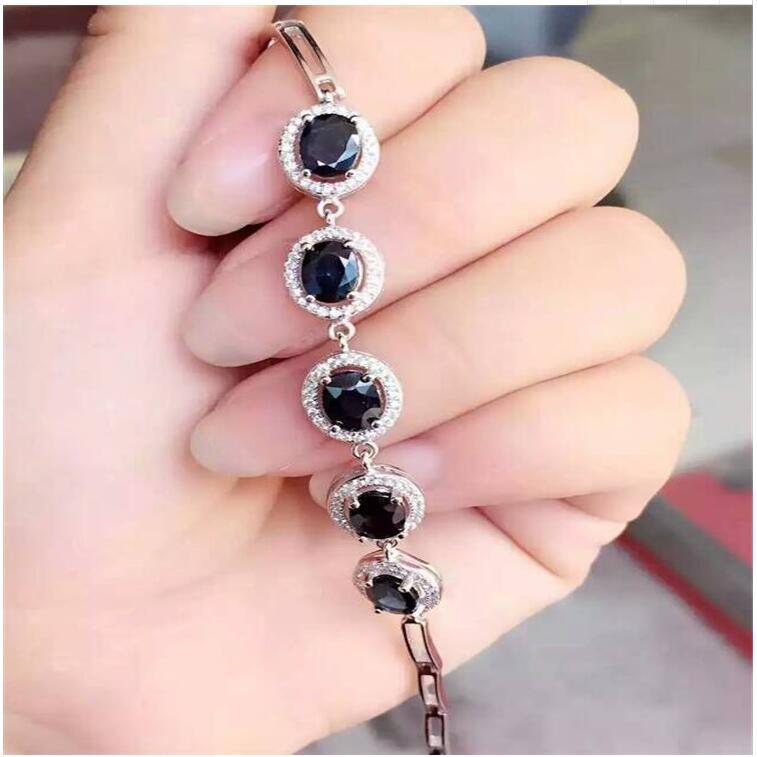 Saphir naturel chaîne bracelet livraison gratuite naturel réel saphir vert 925 bijoux en argent sterling 5*7mm 5 pièces