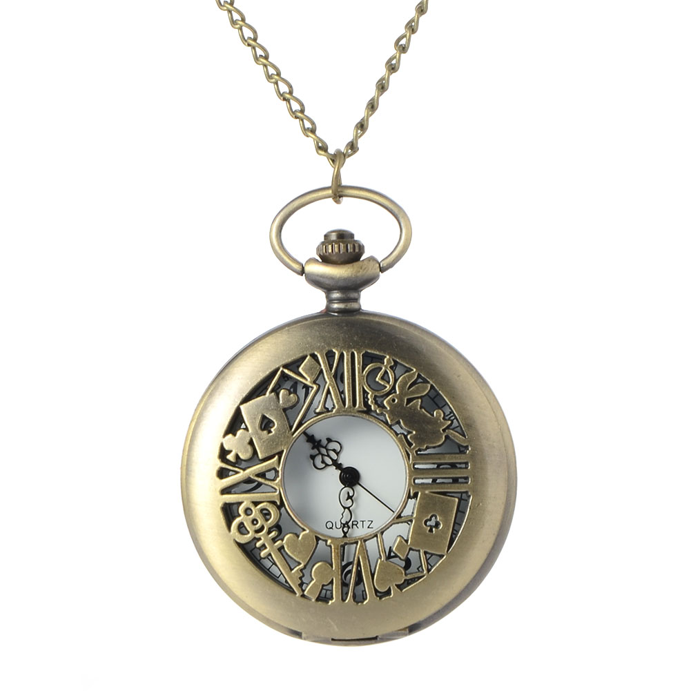 Cindiry Alice in Wonderland Theme Rabbit &Playing Card & Key Pocket Watch Vintage Necklace Pendant Bronze Watch Gifts P20 alice s adventures in wonderland
