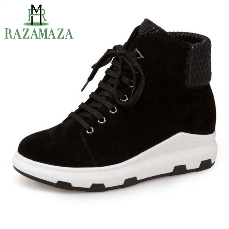 ZALAVOR Size 33 43 Women Genuine Leather Ankle Warm Boots Cross Strap Wedges Boots Warm Shoes