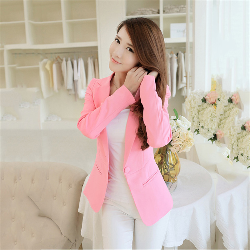 Blazer Women Korean Short Slim S-2XL Pink Black  White Long Sleeve Blazer Coat Spring Autumn Office Lady One Button Blazers JD30
