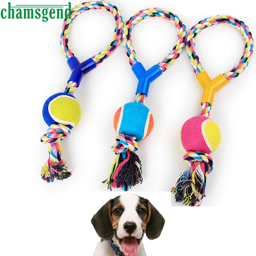 Top Grand Funny Dogs Chew Toys Cotton Rope Dumbbell Tennis Pet Toy Puppy Dog Teeth Cleaning Training Tool For Dogs 1Pc Dropship
