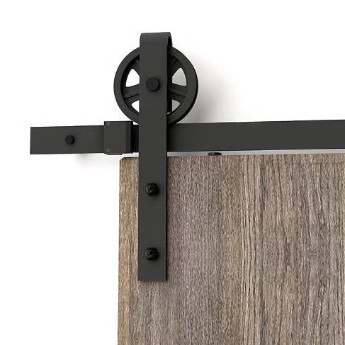 150cm-300cm Vintage Big Wheel Sliding Door Track Barn Wood Door Hardware Rustic Barn Door Sliding Track Kit Track System Door