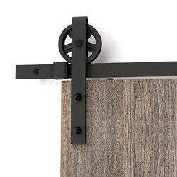 150cm-300cm Vintage rueda grande puerta corredera pista granero puerta de madera Hardware rústico granero puerta corredera Kit pista sistema puerta