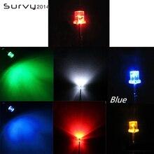 50/100 шт F3/F5 светодиодный 3 мм, 5 мм, с плоским верхом желтый/синий/зеленый/красный/белый Цвет прозрачный Широкий формат светильник
