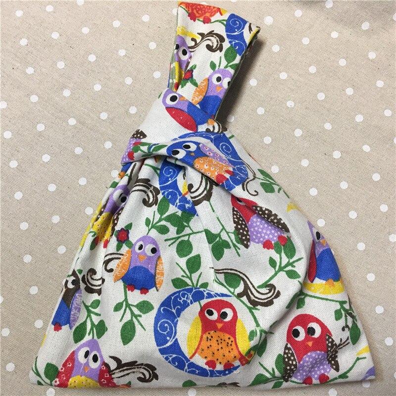 YILE Cotton Linen Wrist Carry Bag Wrap Knot Pouch Coin Phone Bag Print owls Moon W01