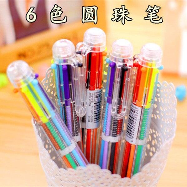 6 color Multi-color ballpoint pen multifunctional multicolour oil pen 6 refill student stationery