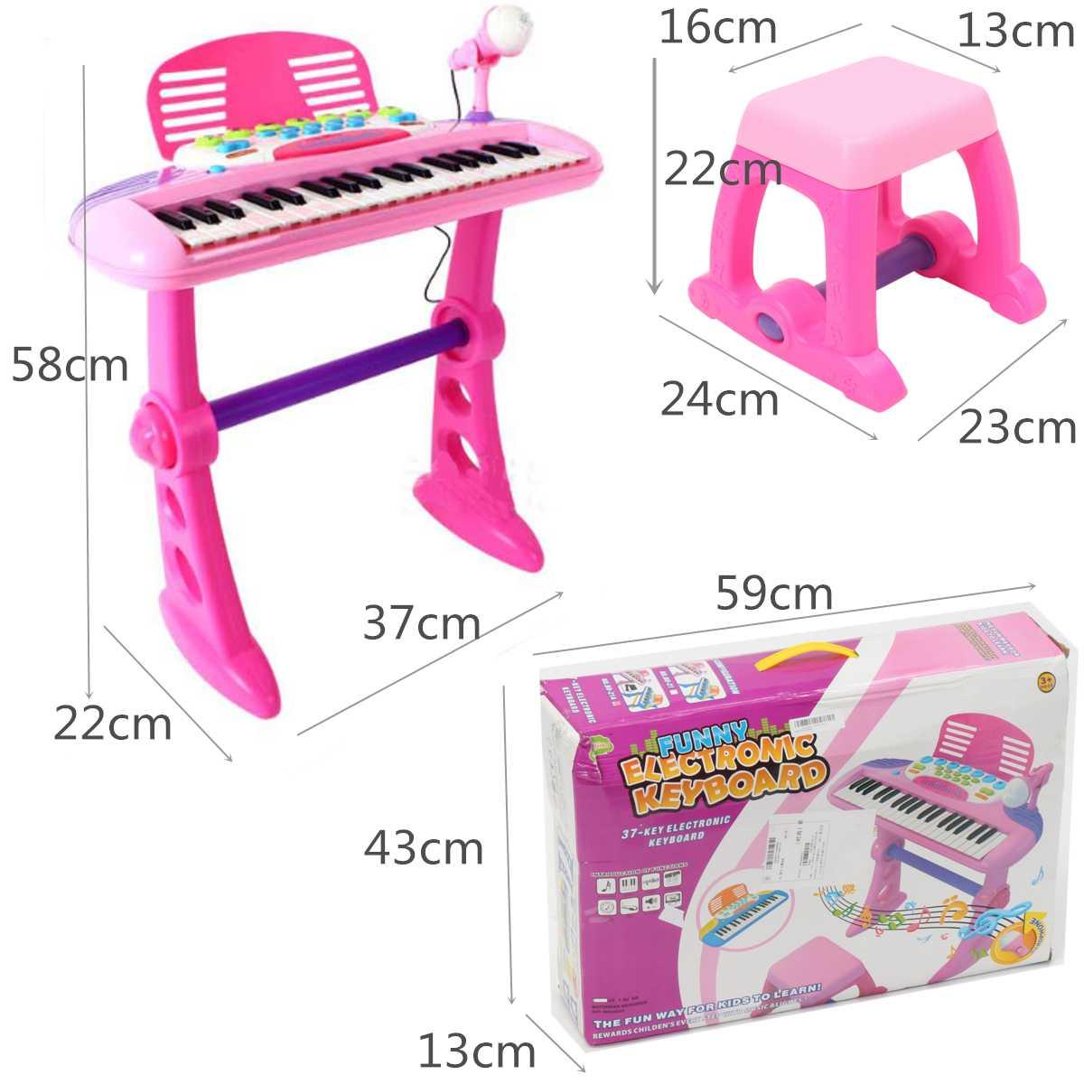 Rose 37 clés enfants clavier électronique Piano orgue jouet Microphone musique jouer enfants jouet éducatif cadeau pour enfants - 4