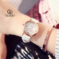 GUOU Kobiet zegarka Brand Classic Watch Women Retro Leather Strap Watches Roman scale Quartz Wristwatch Lady Gift orologi donna
