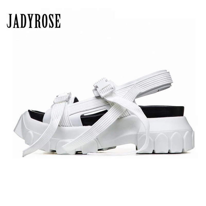 Jady Rose White Summer Sandals Women Platform Creepers Casual Wedge Shoes Woman Sandalias Mujer Female Sneakers Beach Flats