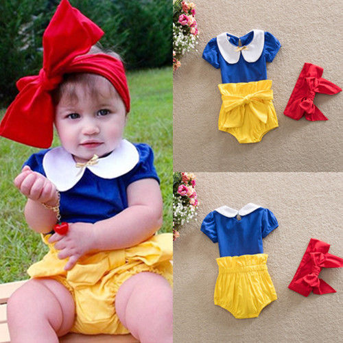3pcs Set Summer Toddler Kids Baby Girls Snow White Princess Costume Headband Outfits Cute Girls Clothes 2017 3pcs outfit infantil girls clothes toddler baby girl plaid ruffled tops kids girls denim shorts cute headband summer outfits set