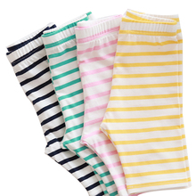 2016 Hot Sales summer Baby Kids Girls Cotton Pants female baby candy stripe all-match Stretchy Leggings Trousers tide