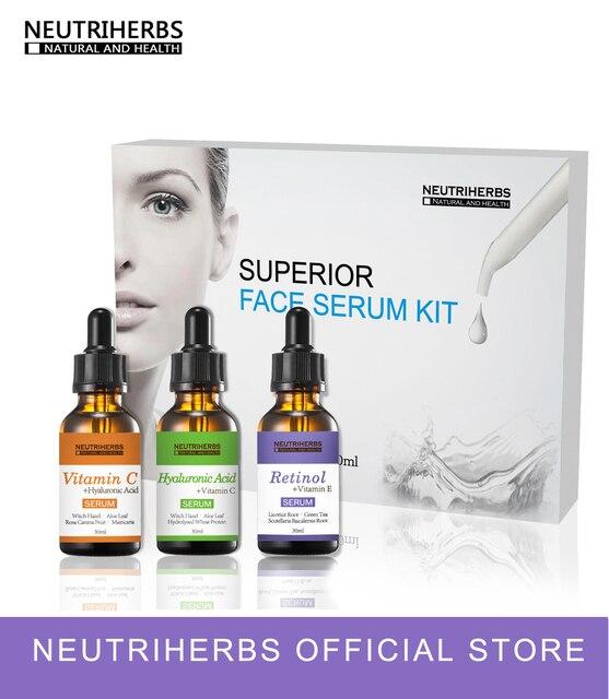 60pcs Collagen Vitamin C retinol Face Serum Hyaluronic Acid Skin Whitening Moisturizer Anti Wrinkle Aging Serum Kit 3 in 1 Set