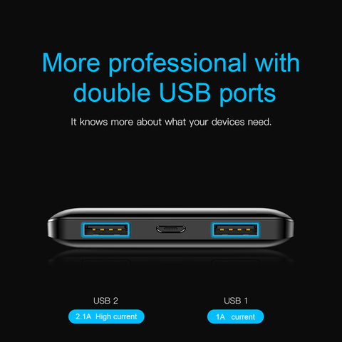 Baseus 10000mAh Power Bank For Xiaomi Samsung iPhone Huawei Powerbank Portable Mini Dual USB Charging External Battery Pack Bank Islamabad