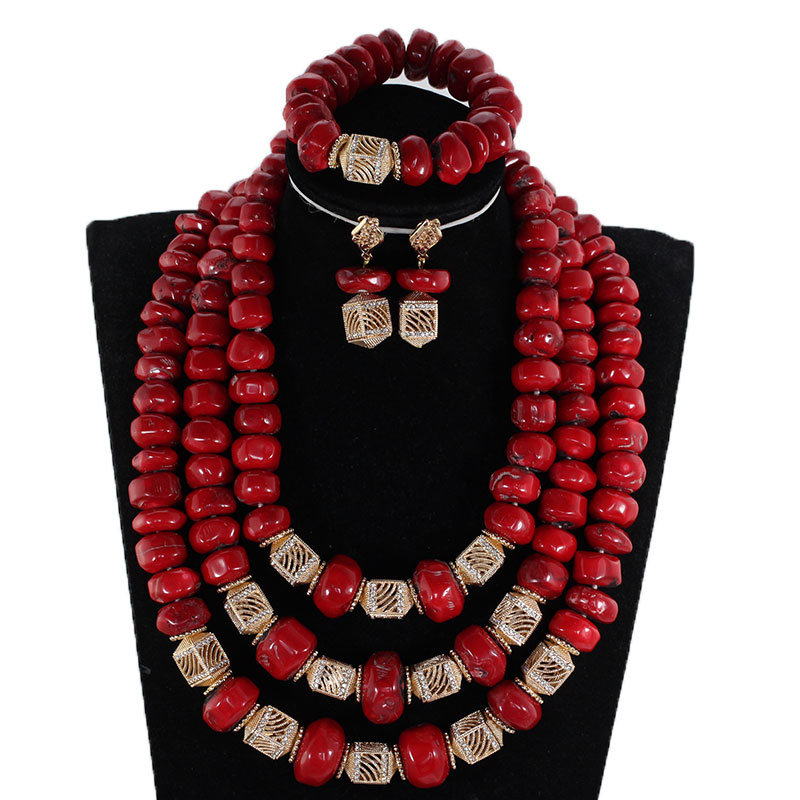 Fabulous Red Coral Beads African Wedding Jewelry Sets Dubai Gold Bridal Statement Necklace Set Coral Beads for Women CNR903 2018 dubai gold statement necklace set charms 3 layers women coral african beads jewelry set real coral beads for brides abh762