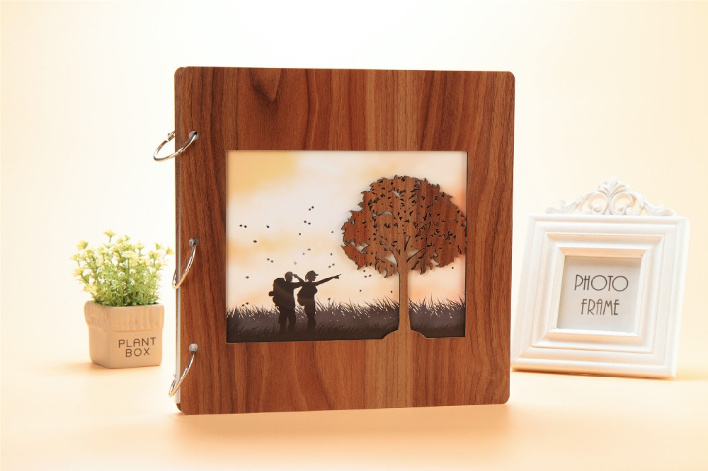 16 pouces mariage grand Vintage en bois bricolage auto-adhésif cartes noires Photo Scrapbook bébé papier livres Albums Album pour Photos