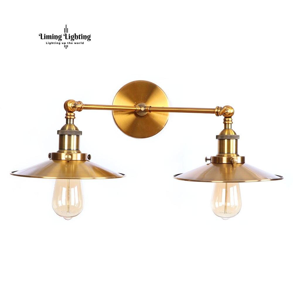 Deux têtes Vintage fer aluminium rétro applique LED E27 Luminaire applique murale appliques salon chambre Restaurant étude