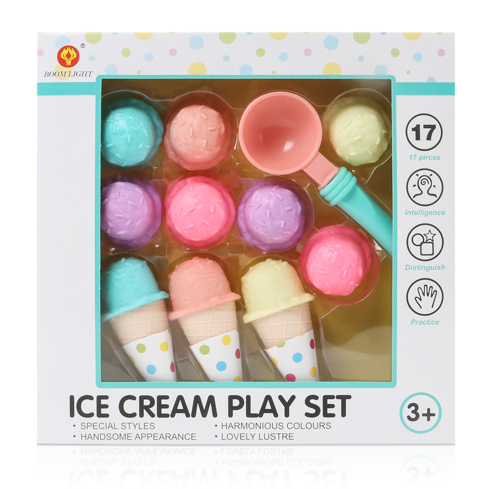 17PCS  Ice Cream Play Set Pretend Play Toys Educational Kid Kitchen Set Fun Miniature Toys For Children