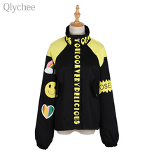 Qlychee Letter Printed Pocket Jacket Women Female Spring Autumn Cartoon Patchwork Outwear Long Sleeve Loose Coat