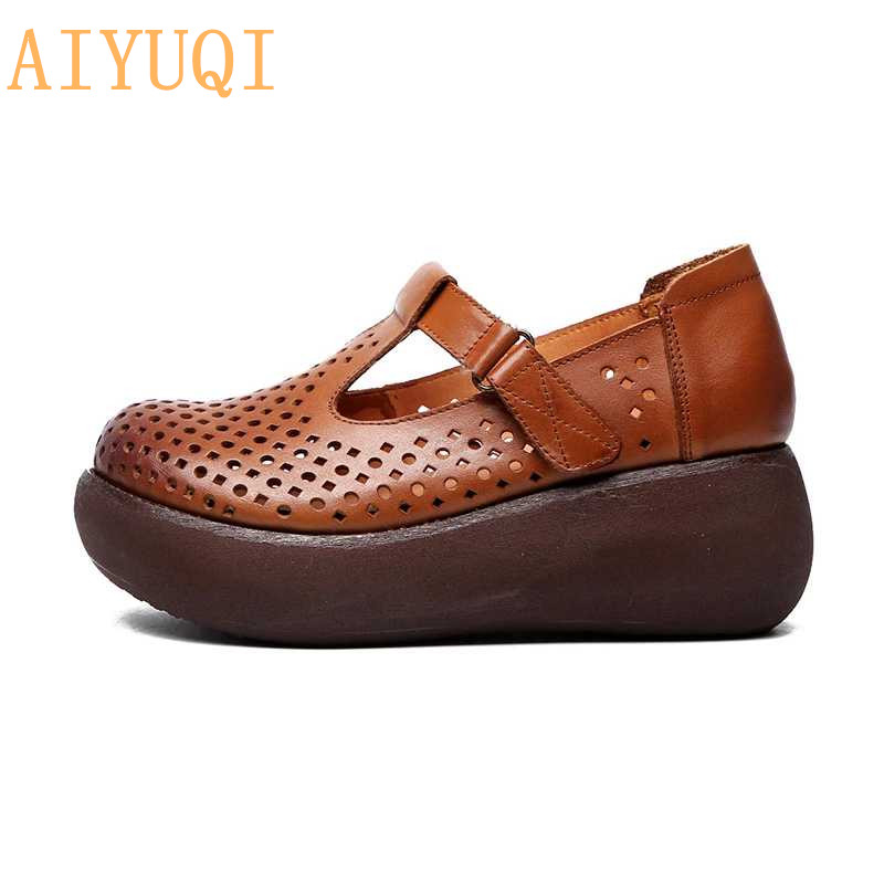 AIYUQI Women sandals platform wedges shoes 2019 new genuine leather women thick bottom vintage,women flat casual