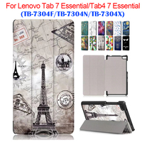 Tab 7 Essential 7304F 7304N 7304X PU Leather Case Cover 7 Slim Print For Lenovo Tab4