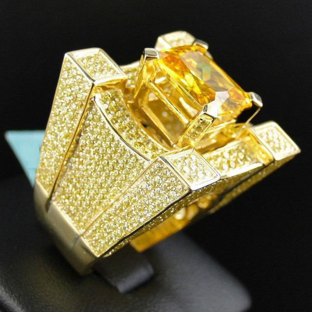 Luxury Micro Pave Champagne Rhinestone Iced Out Bling Big Square Crystal  Ring IP Gold Filled Rings For Men Jewelry 18fe13940d83