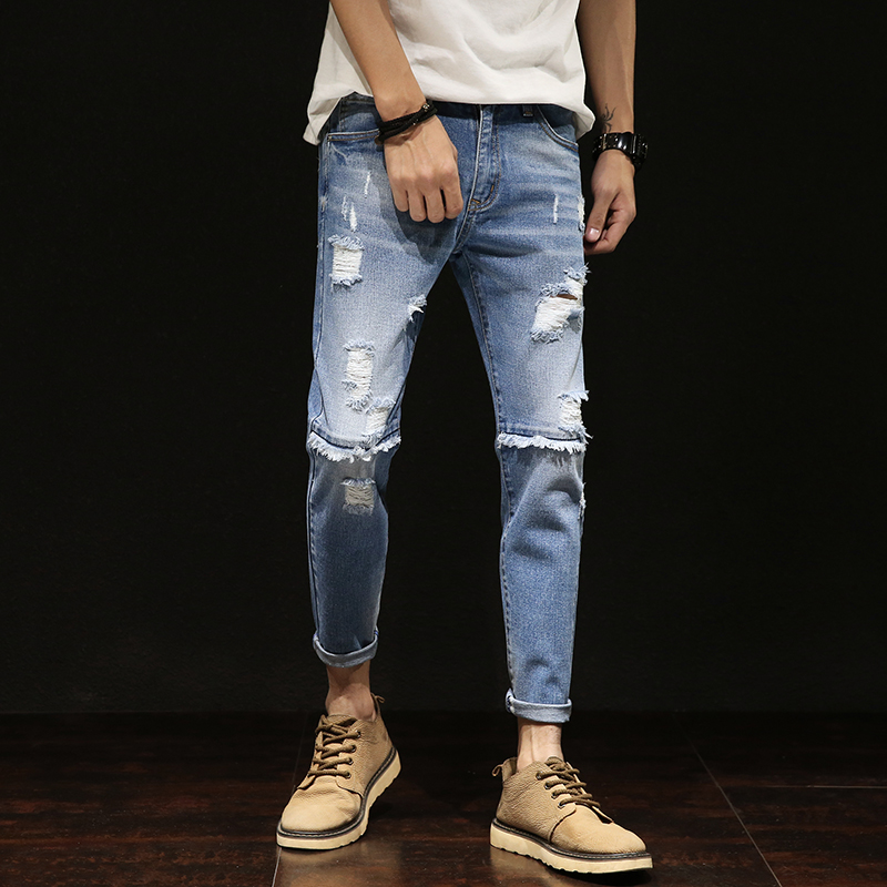 2018 New men jeans Fashion mens Casual Slim fit Straight High Stretch Feet skinny pants blue hot sell male long trousers man