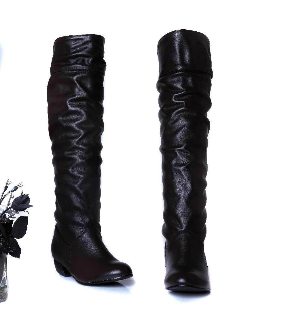 Artı boyutu 34-43 Kadın Diz Yüksek Çizmeler Seksi Kare Topuklu Bahar Sonbahar Ayakkabı Yuvarlak Ayak kış Yumuşak Deri sonbahar kış Çizmeler