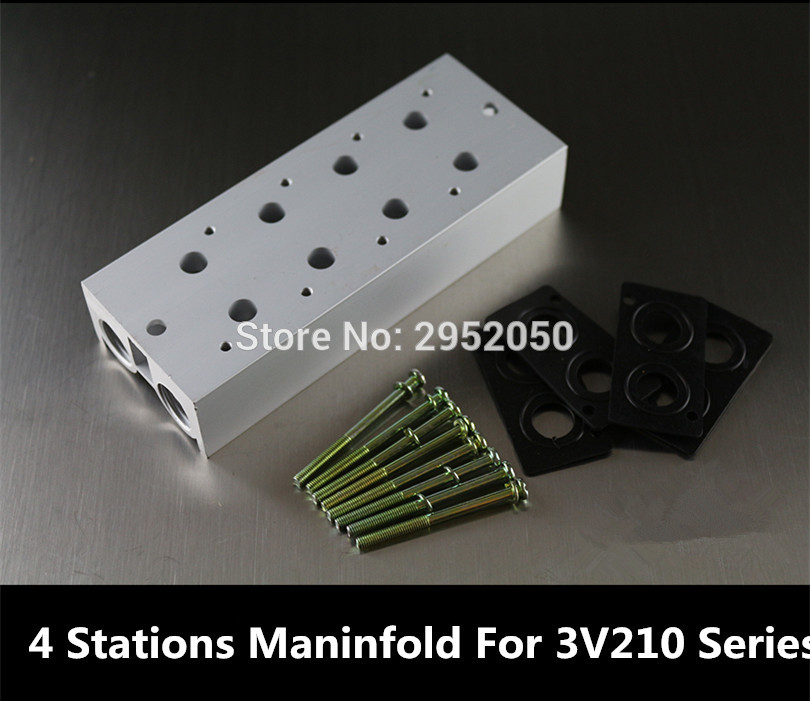 1/4 Airtac Pneumatic Solenoid Valve Manifold Base Board With Screws Rubber 3V210 200M-4F 4 Station Row For 3v210-08 3v210-06 airtac new original authentic solenoid valve 4m310 08 dc24v