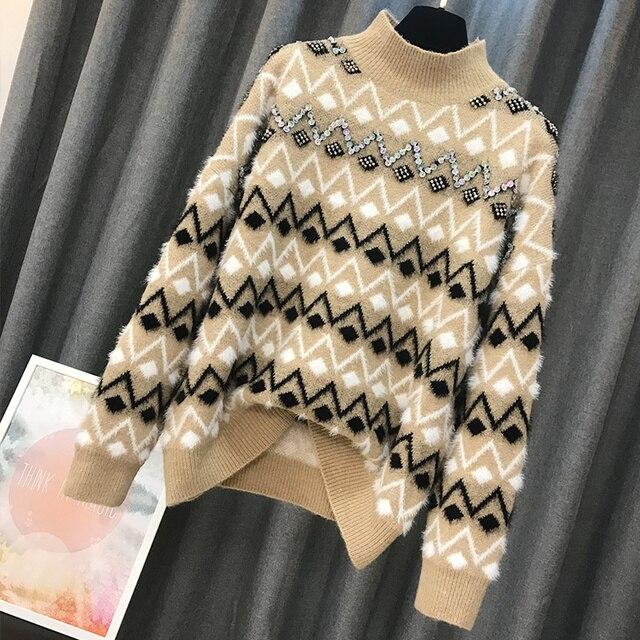 ALPHALMODA 2018 Winter Women Fashion Sequined Geometric Pattern Sweater Loose Pullover Heavy-hand Work Female Luxury Jumper