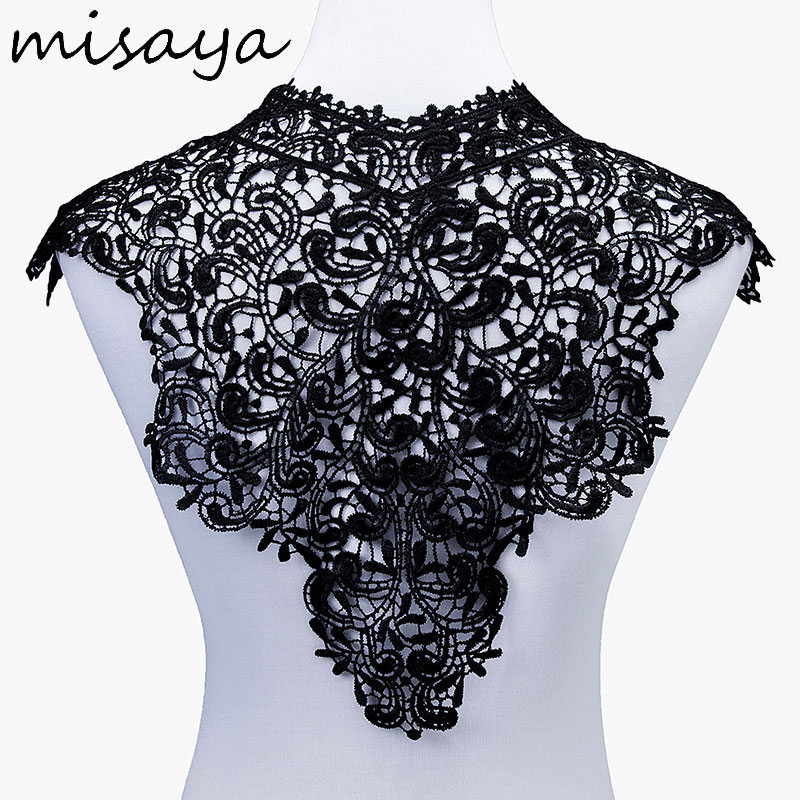 Image 3 - Misaya 1pc Lace Collar of 9 Style Beautiful Flower and Heart Venise Lace Applique Trim Lace Fabric Sewing Supplies Lace Neckline-in Lace from Home & Garden